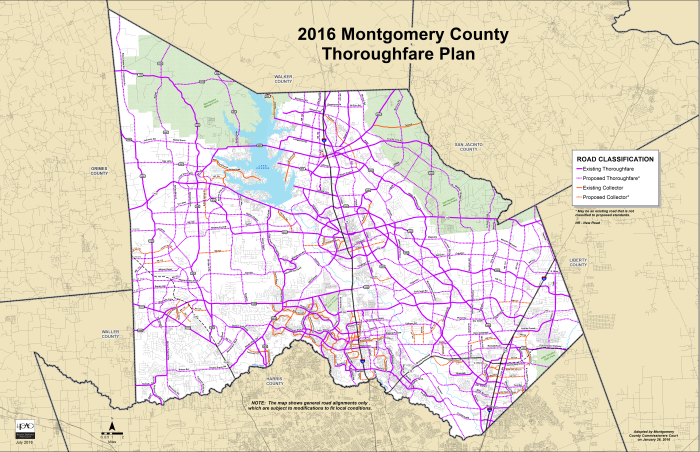 2016 Montgomery County Thoroughfare Plan Map